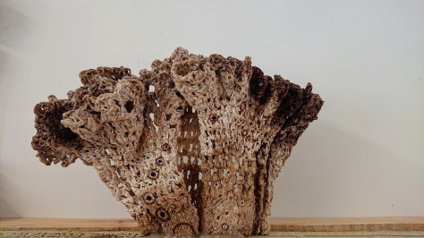 "Joanne White. ""Can't swim Back, You Started This' (2019). Crochet cotton ceramic"